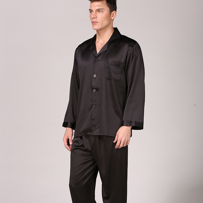 Pajamas Men Sleepwear Nightgown Satin Silk Male Home Spring for Soft-Cozy Modern-Style