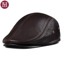 2019 جديد الخريف الشتاء الرجال القبعات الزغب الدافئة جلد طبيعي النمط الغربي موضة ماركة بلغت ذروتها قبعة جلد البقر أبي قبعة
