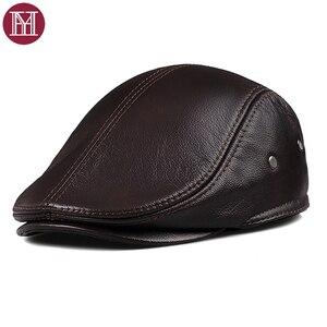 Image 1 - Новинка 2019, осенне зимние мужские шапки, оригинальная модная брендовая Кепка в западном стиле, Кепка из воловьей кожи, шапка для отца