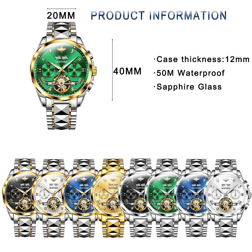 Top Luxury Brand Automatic Watch Men Mechanical Tourbillon Sapphire Tungsten Steel Waterproof Wrist Watches Relogio Masculino 5