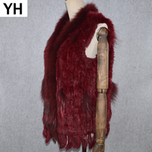 2019 Hot Sale Party Women Real Rabbit Fur Vest Knitted Tassels Real Genuine Rabbit Fur Gilet Real Raccoon Fur Collar Waistcoat cheap doakxol Raccoon Dog Fur Fashion Slim Fur Real Fur YH-80822 STANDARD REGULAR With Raccoon Dog Fur Collar Sleeveless Covered Button