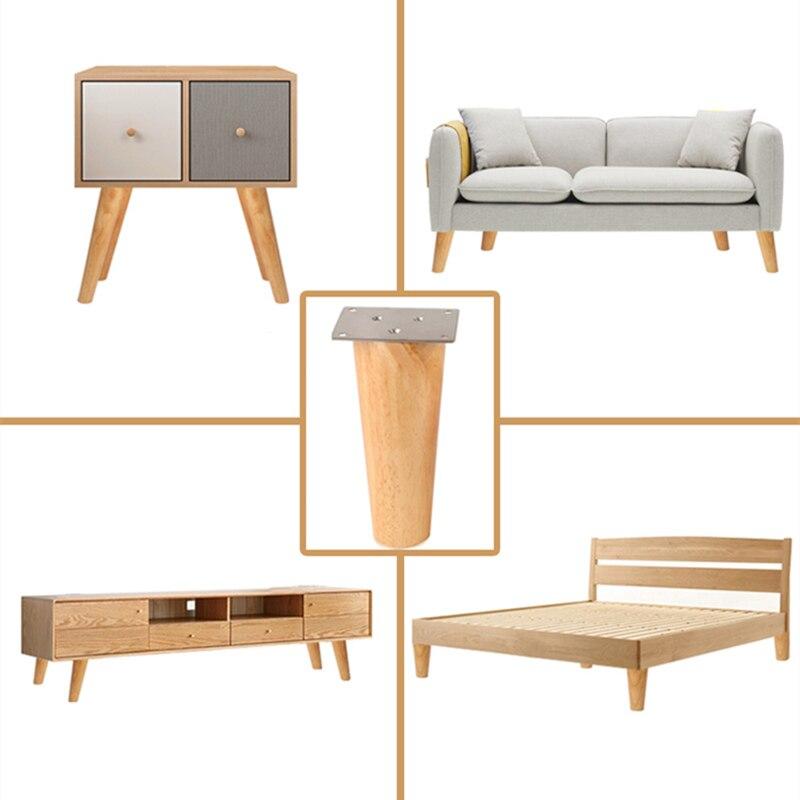 DIY Oak Solid Wooden Furniture Legs Sofa Foot Tilt Coffee Table Legs Cabinet Furniture Foot Level Foot Bed Riser With Screws