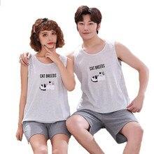 Artı boyutu M 4XL çift pijama seti yaz yelek pijama pamuk kadın pijama erkekler sevimli karikatür pijama