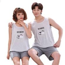 Plus Size M 4XL Paar Pyjama Set Zomer Vest Pyjama Katoen Vrouwen Nachtkleding Mannen Leuke Cartoon Pijamas