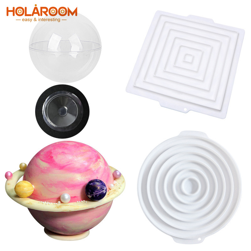 Ball Sphere Mould Ornaments DIY Silicone Planet Shape Cake Chocolates Mold Tool