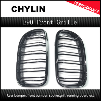 A Pair Gloss black Kidney Grille Grill For BMW 3-Series E90/E91 Sedan/Wagon 2009 2010 2011 4-Door image