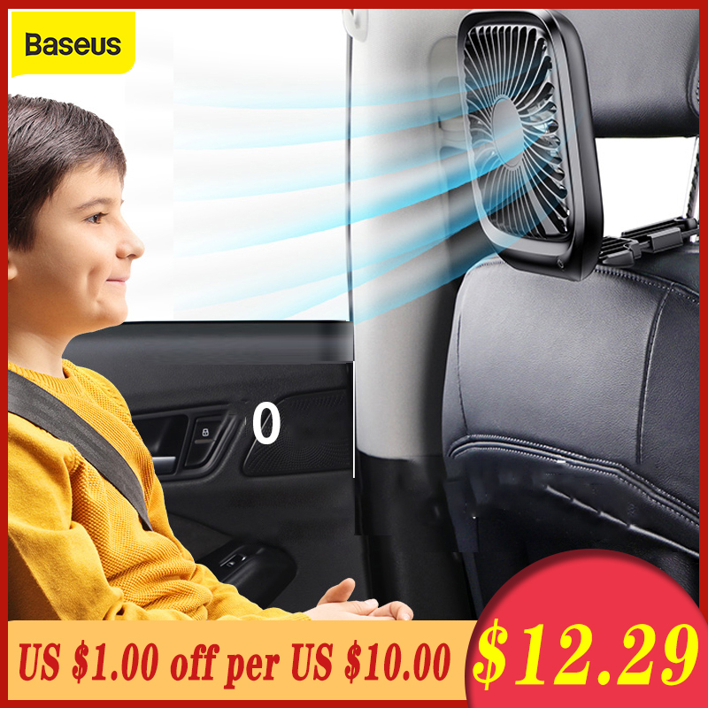 Baseus Car Back Seat Mini USB Foldable Silent Fan Cooler Portable Air Cooling Fan Use Desktop Office Fan Three Grade Wind Speed
