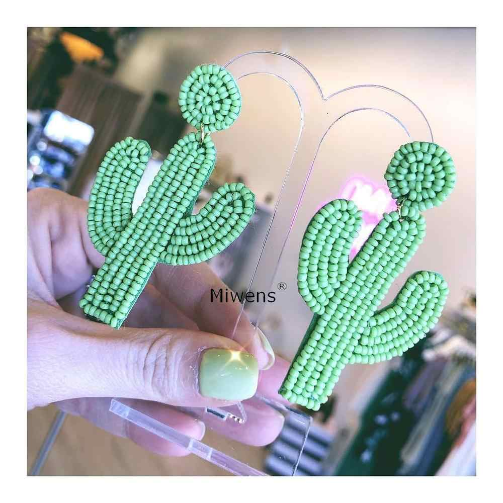 Miwens Cute Cactus Beads Drop Earrings For Women Elegant Petty Handmade Beaded Statement Hanging Earrings Charm Wedding Jewelry