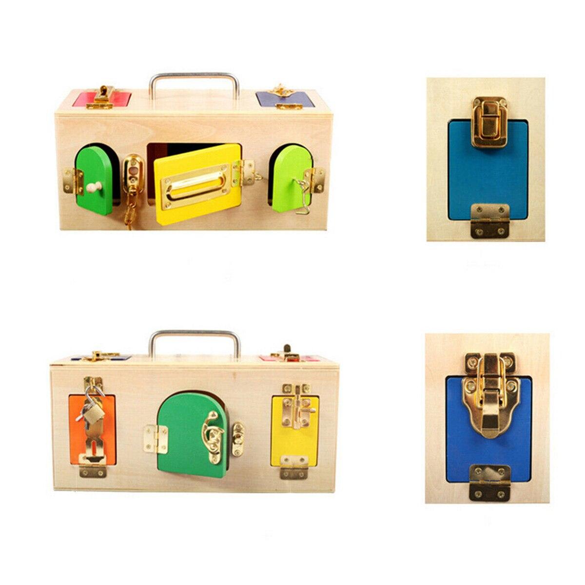 Montessori serrure boîte vie pratique jouet ouvrir la serrure clé éducatifs en bois jouets pour enfants de base et compétences de la vie jouets d'apprentissage - 3
