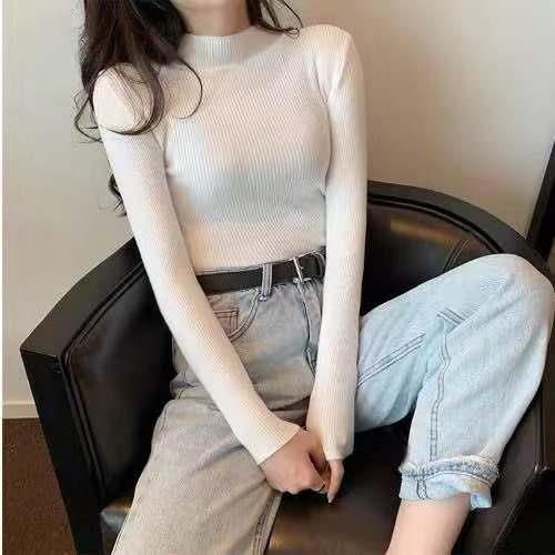 Women Sweaters Autumn Winter Turtleneck Long Sleeve Stretch Blue Knitted Pullovers Fashion Femme Soft Thin Jumper Tops 10 Colors 8