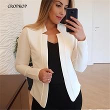 Simple White Vintage Office Lady Black Blazer Long Sleeve Loose Tops Coat Jacket