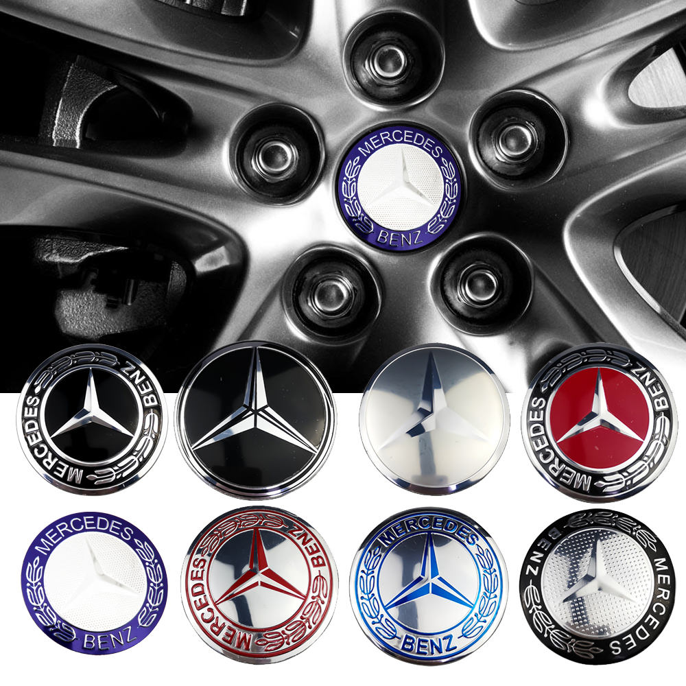 4Pcs Car Wheel Center Hub Caps Stickers Emblem Badge Logo For Mercedes Carlsson
