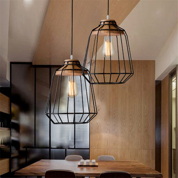Nordic Style Simple Wood Dinner Pendant Lamp Iron Cage Restaurant Light Modern Cafe Lamps DIA 250MM Free Shipping