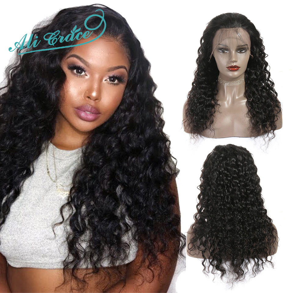 Wigs Human-Hair Ali-Grace Water-Wave Hairline Brazilian with 100%Remy Natural Pre-Plucked title=