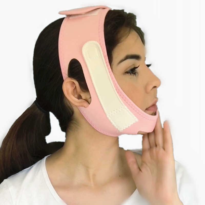Маска бандаж для V зоны лица с эффектом лифтинга подтяжки кожи щёк подбородка и