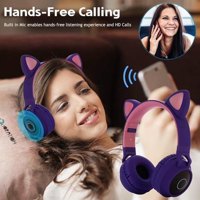 Cat Ear LED Bluetooth Headphone Cute Headphones, Bluetooth Kids Girls Headphones Glowing Light Handsfree Headset Gaming Earphone 4
