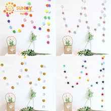 4m Circle Star String Garland Bunting Paper Banner Party Decoration Wedding Birthday Party Nursery Room Hanging Decor Supplies(China)