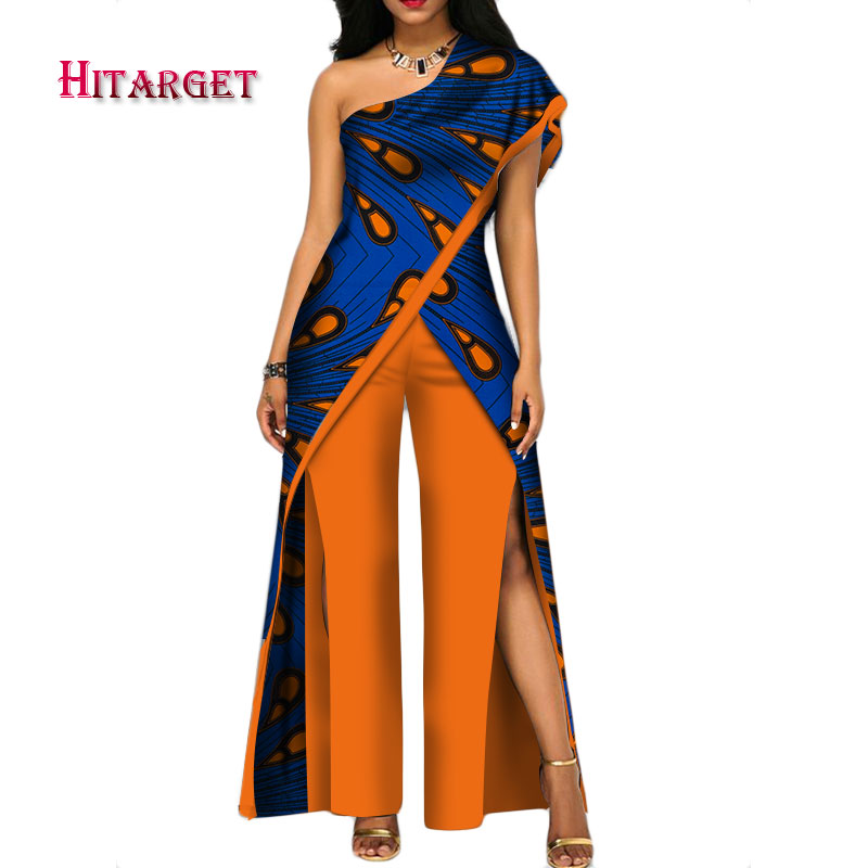 Stock Size Low Price African Pant Set For Women Sexy Off Shoulder Pant Set 2 Pieces Clothing WY2373