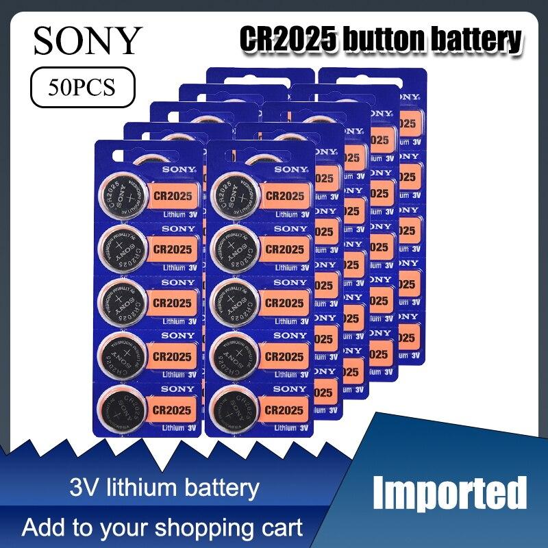 50 шт. SONY оригинальный cr2025 аккумуляторы таблеточного типа cr 2025 ECR2025 DL2025 LM2025 3V литиевая Батарея для часы с калькулятором