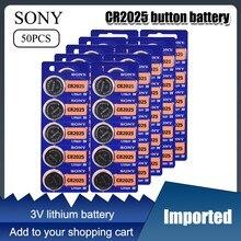 50 pces sony original cr2025 botão baterias de pilha cr 2025 ecr2025 dl2025 lm2025 3v bateria da moeda de lítio para a calculadora do relógio