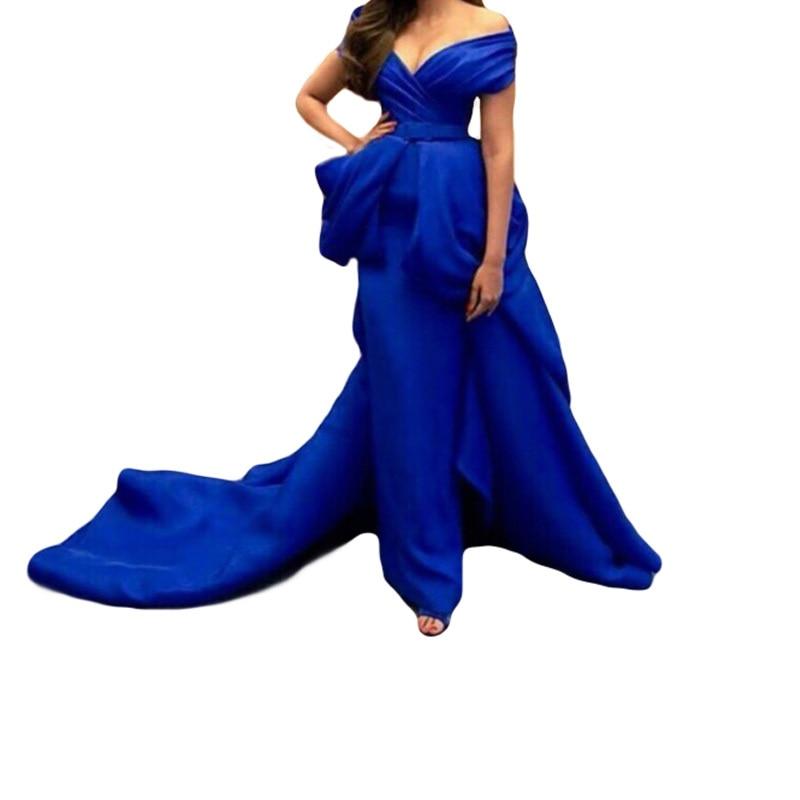 2018 Robe De Soiree Saudi Arabia Royal Blue Prom Sexy V Neck Evening Party Gown Vestdio De Festa Mother Of The Bride Dresses