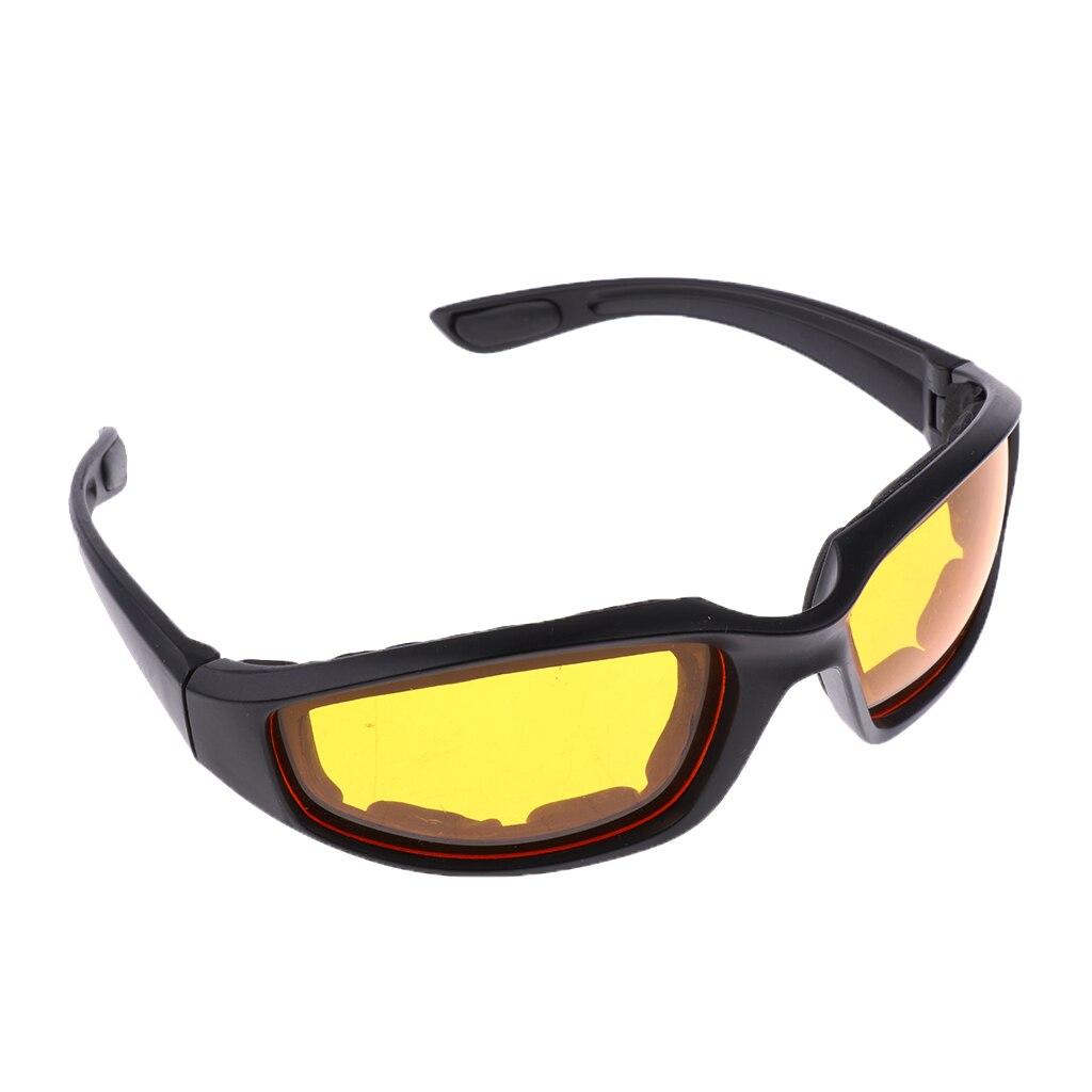 Chopper yastıklı rüzgara dayanıklı güneş gözlüğü motosiklet binme gözlük sarı