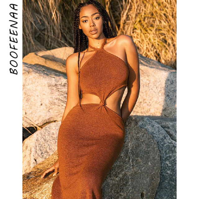 BOOFEENAA Sexy Vacation Outfits Knitted Halter Maxi Dresses for Women 2021 Elegant Dress Sets Holiday Beach Sundresses C76-CZ25 1