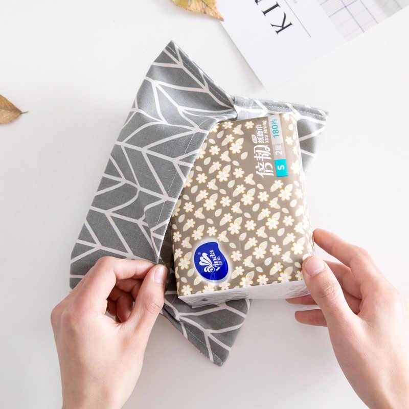 綿とリネン紙タオルセットペーパータオルバッグ紙袋車布ティッシュボックスポンピング紙収納ボックスオーガナイザーバッグ