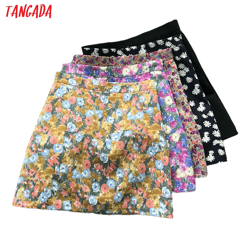 Tangada Women Floral Print Mini Skirts Faldas Mujer Back Zipper Summer Female Short Skirt Ladies ASF60