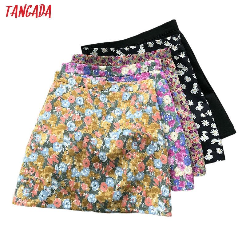 Tangada Women Floral Print Mini Skirts Faldas Mujer Back Zipper Summer Female Short Skirt Ladies ASF60