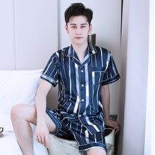 Пижамы Мужские пятно шелковые шорты пижамы комплект Мужские пижамы шелковые пижамы мужчин сексуальный современный стиль мягкой атласная ночная рубашка мужчины