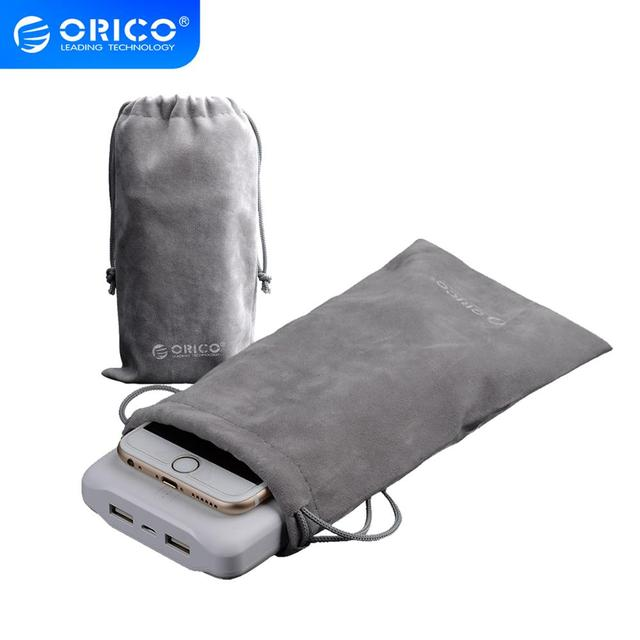 ORICO Velvet 180x100mm Mobile Phone HDD Bag Storage for USB Charger USB Cable Power Bank Phone storage box case Gray Color