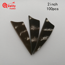 New  100pcs 2Real Turkey Feather Shield pattern Mixed color Arrow Cut Fletching Hunting Shooting Diy Accessories