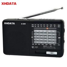 Xhdata D 328 fm rádio am sw portátil banda de rádio de ondas curtas mp3 player com cartão tf jack 4receiver/3w rádio receptor