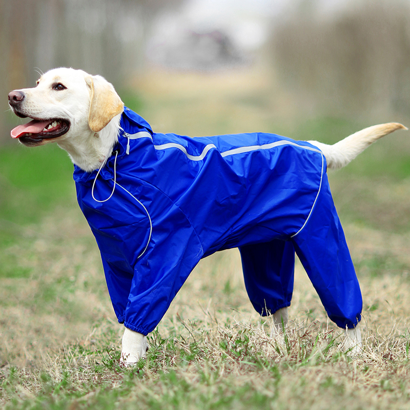 Pet Dog Raincoat Reflective Waterproof Clothes High Neck Hooded Jumpsuit For Small Big Dogs Rain Cloak Golden Retriever Labrador