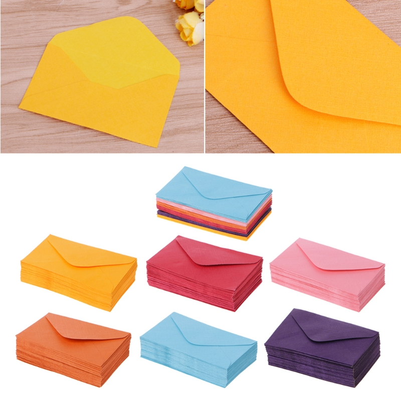 50Pcs Colorful New Retro Blank Mini Paper Envelopes Wedding Party Invitation Greeting Cards Gift