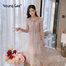 Young Gee Beige Pink Mesh Sleeve Princess Dres 2019 Women Romantic Elegant Flare Elastic Waist Multilayers Cake Dresses