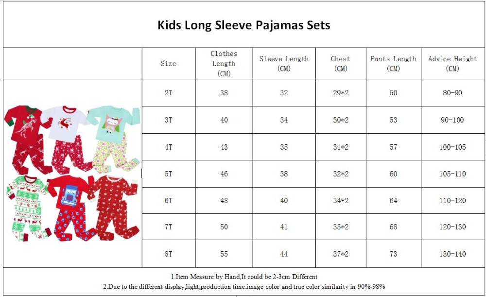 PA-Long Sleeve Pajamas Size 2-8Years