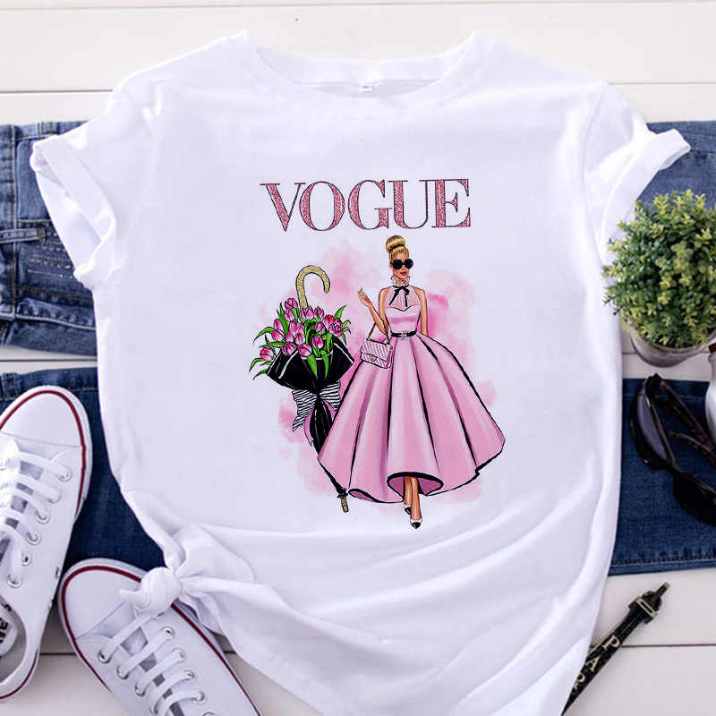 Nueva camiseta de moda para mujer, camiseta Harajuku de estilo moderno con cuello redondo, camiseta informal de verano de manga corta, camiseta blanca, Tops