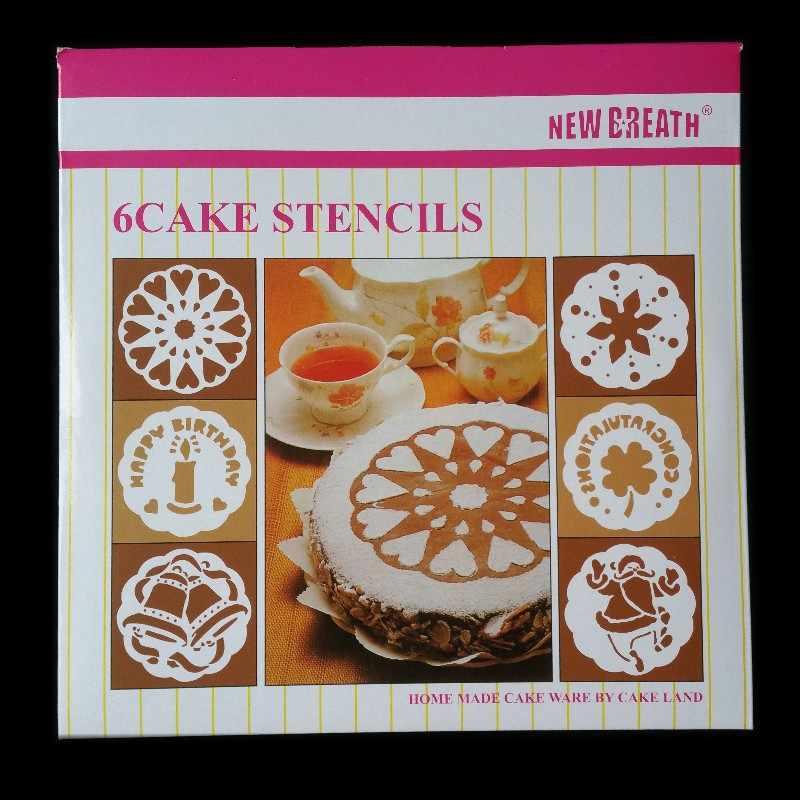 6 יח'\סט פלסטיק עוגת שבלונות פרח ריסוס שבלונות עוגת יום הולדת עובש לקשט מאפיית כלים DIY עובש יצק תבנית