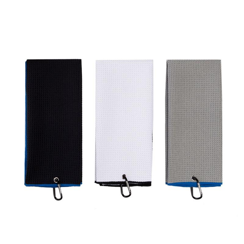 42*64cm Golf Towel With Hook Microfiber Deep Waffle Weave Quick Drying For Cleaning Clubs Irons Drivers With Carabiner