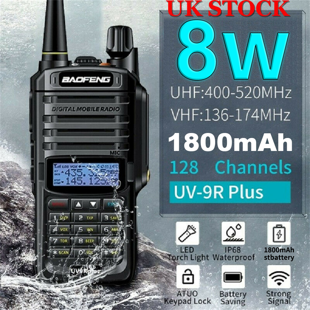 UV-9R 8W Plus Baofeng VHF136-174, UHF 400-520MHz Walkie Talkie Dual Band Handheld Two Way Radio 1800MAH Battery EU/US PLUG USB