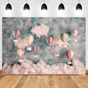 Image 2 - Laeacco Blue Light Bokeh Castle Gold Butterfly Balloon Gift Flowers Ball Candle Party Baby Photo Backdrop Photography Background
