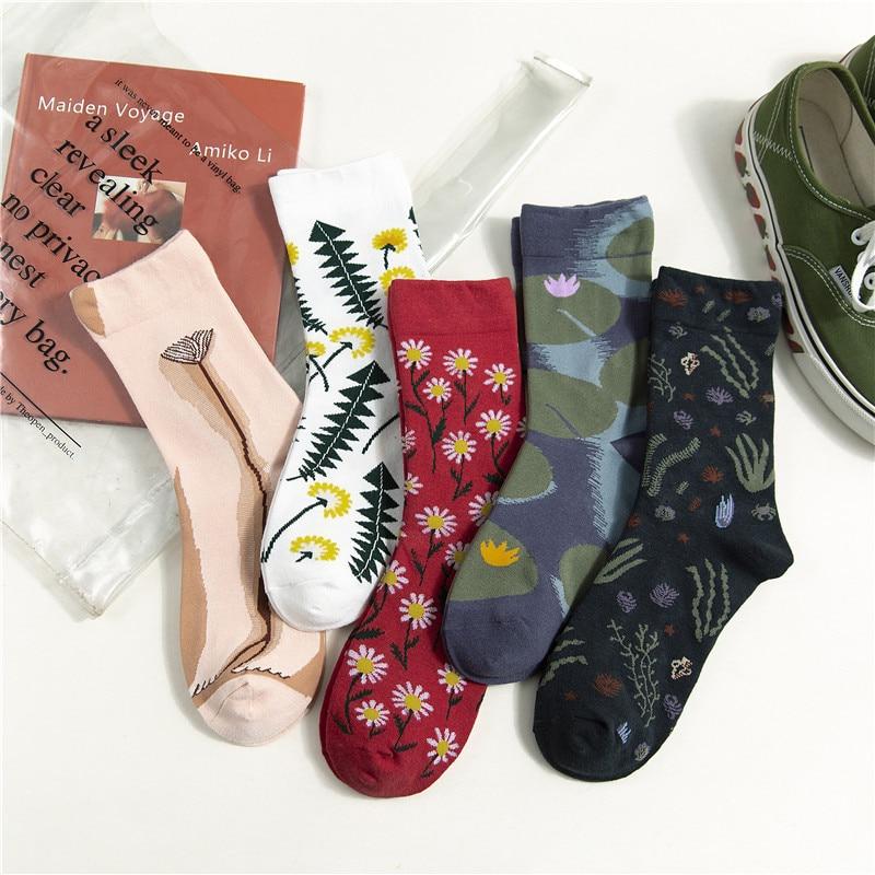 SP&CITY Women Floral Cotton Harajuku Socks Fashion Casual Streetwear Funny Socks For Female Cute Original Comfortable Sox Trendy