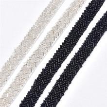 5yards/lot Rhinestones Lace Fabric Ribbon Trim 1.5cm Braided Applique Scrapbooking Craft Sewing Supplies for Wedding Dress