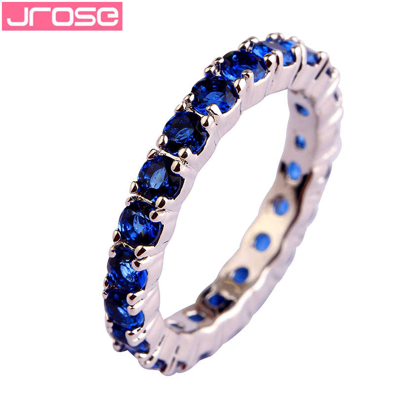 JROSE Wholesale Popular Green & Blue Quartz Silver Color Ring Size 6 7 8 9 10 11 12 13 Cocktail Party Women Couple Rings Gift