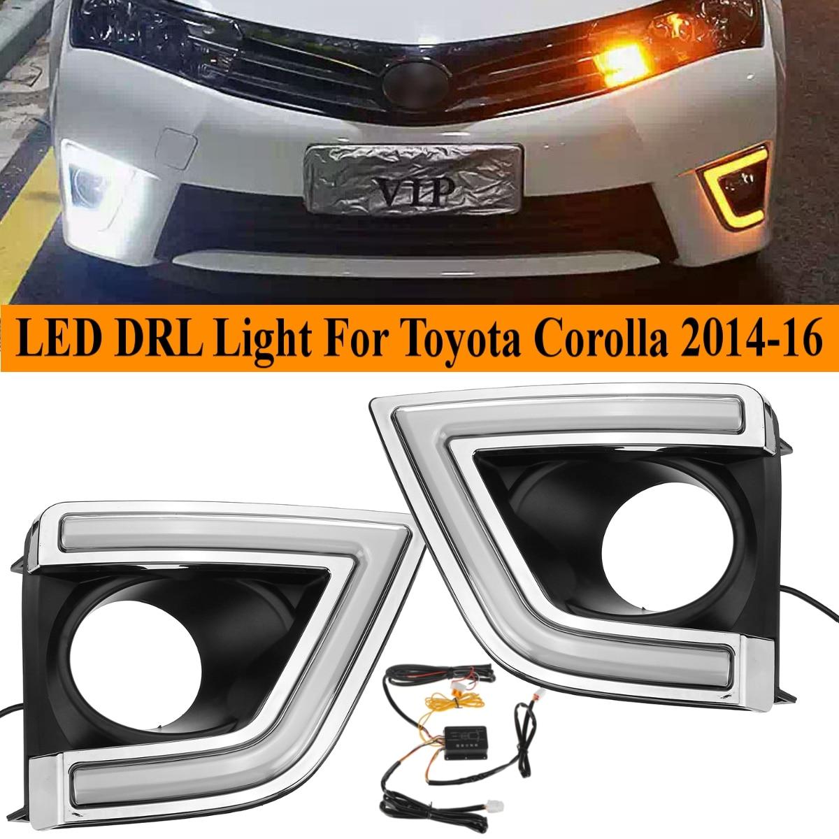자동차 led drl for toyota corolla 2014 2015 2016 화이트 옐로우 주간 러닝 라이트 drl 운전 안개 램프 깜박임 액세서리 커버