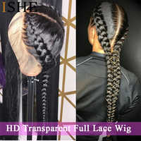 HD Transparent Full Lace Human Hair Wigs PrePlucked With Baby Hair Straight Brazilian Remy Glueless Full Lace Wig For Women