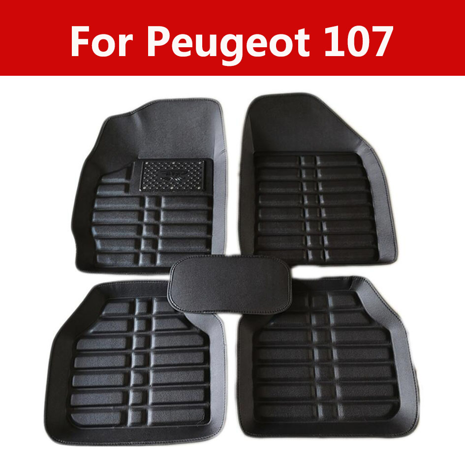 Pvc Car Stickers Driving On The Left Seat Car Floor Mats For Peugeot 107 5pc Full Set Carpet Floor Mats|Floor Mats| |  - title=