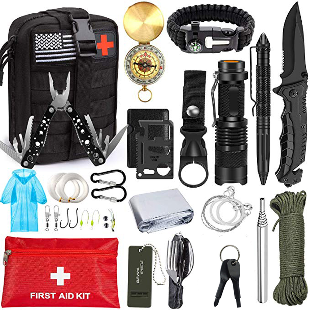 Outdoor 47 IN 1 Survival Kit Portable First aid Tourism Equipment Camping Tools Emergency Hiking Kit Whistle Rescue Tactical Pen(China)